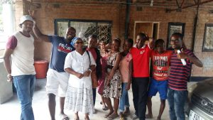 Some of the youths with Mrs Chipili a senior friend